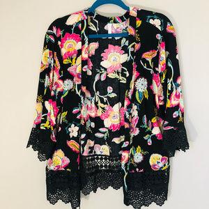 floral lace quarter sleeve open shirt